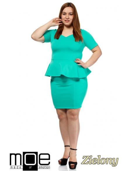 Elegancka kobieca sukienka baskinka - zielona