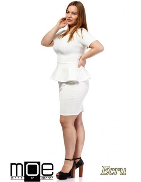 Elegancka kobieca sukienka baskinka - ecru