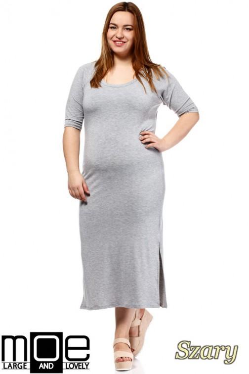Elegancka sukienka maxi - szara