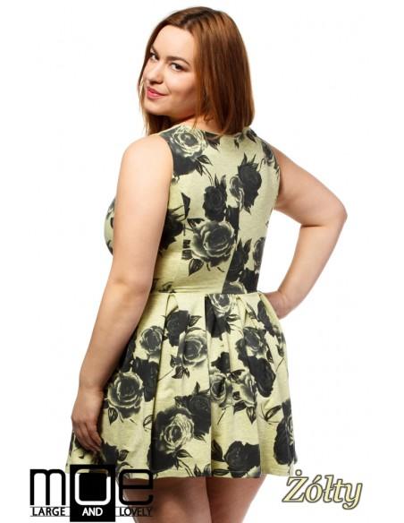 Rozkloszowana sukienka mini bez rękawów - żółta