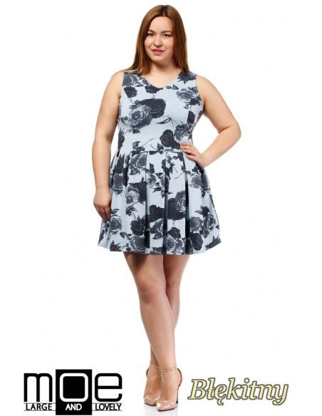 Rozkloszowana sukienka mini bez rękawów - błękitna