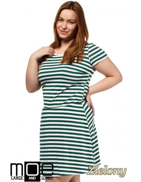 Drapowana sukienka z gumką w pasie - zielona