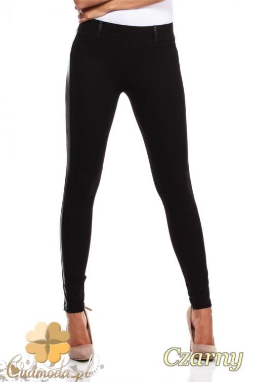 Włoskie legginsy ze skórzaną wstawką na nogawce - czarne
