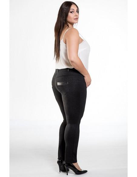 Dopasowane spodnie ze skórzanymi wstawkami - czarne