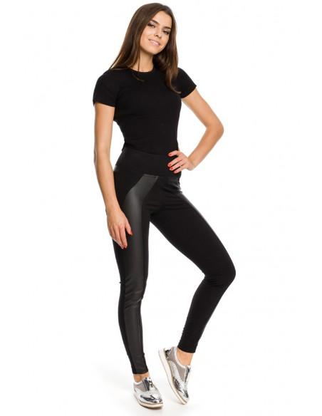 Wyjątkowe legginsy ze skórzaną wstawką