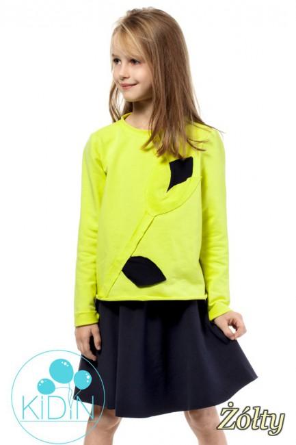 Dziewczęca bluza z ozdobnym kwiatkiem - żółta