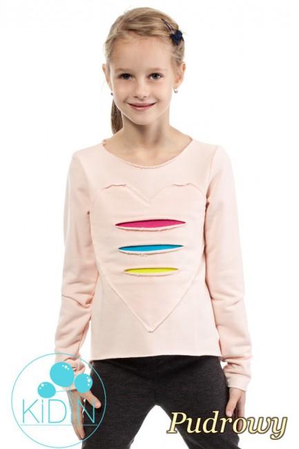 Dziewczęca dresowa bluza z sercem - pudrowa