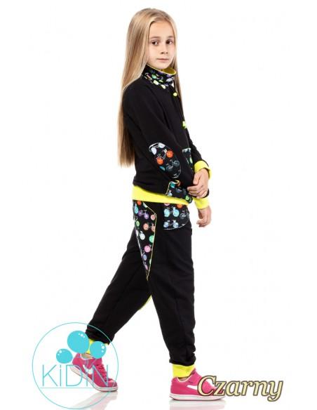 Dziecięce dresowe spodnie z dużymi kieszeniami - czarne