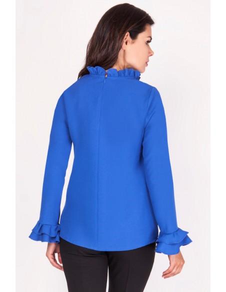 Prosta bluzka z falbankami przy rękawach - kobaltowa