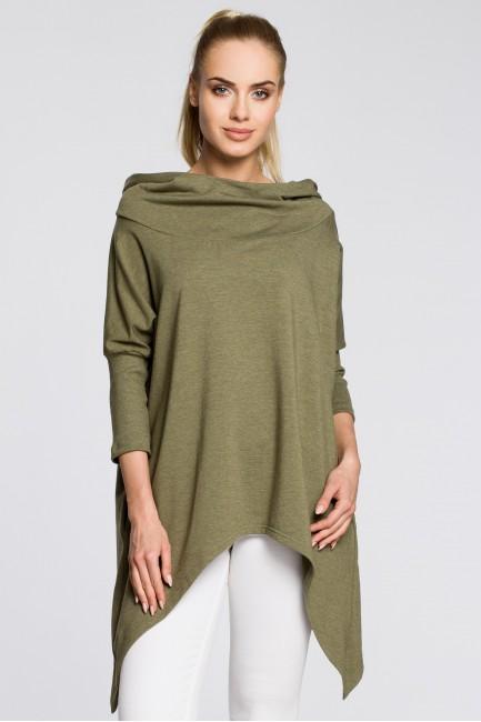 Asymetryczna peleryna damska z kapturem - khaki