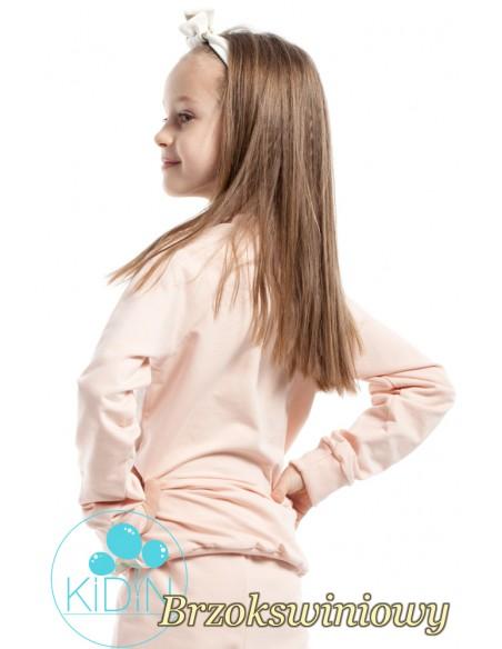 Dziewczęca bluzeczka w brokatowe koła - brzoskwiniowa
