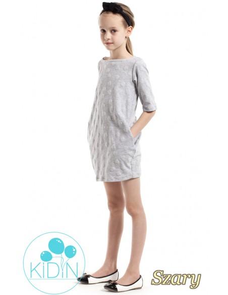 Nowoczesna sukienka w wystające serduszka - szara