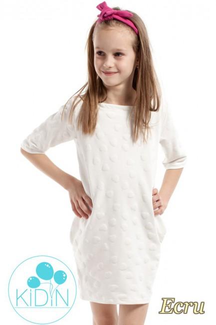 Nowoczesna sukienka w wystające serduszka - ecru