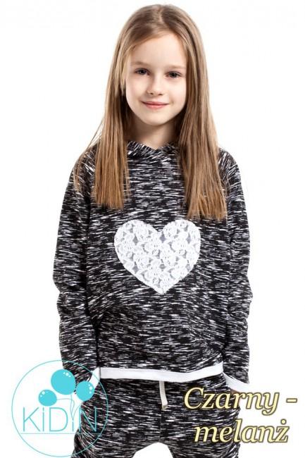 Bawełniana bluza z kapturem i sercem na przodzie - czarny-melanż