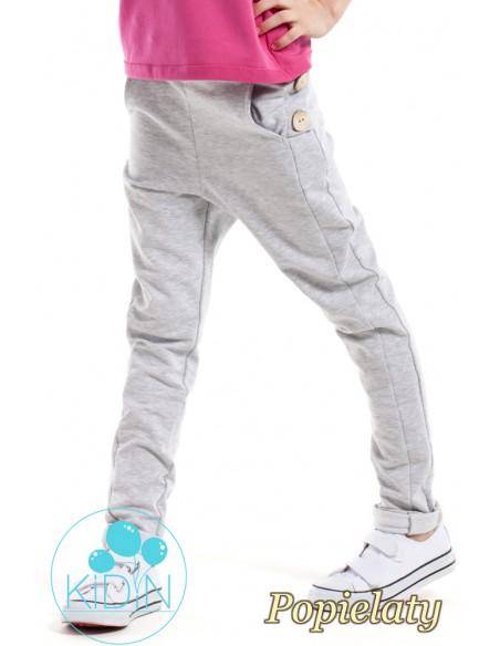 Dziecięce spodnie rurki z ozdobnymi guzikami - popielate