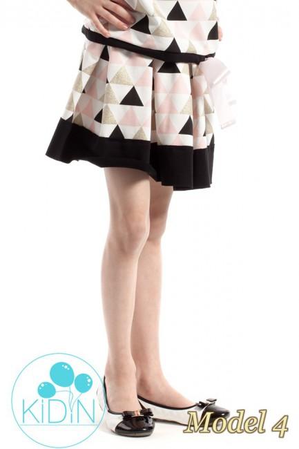 Dziewczęca spódniczka kontrafałda we wzory - model 4