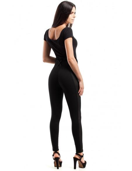 Szykowne spodnie z zamszową wstawką - czarne