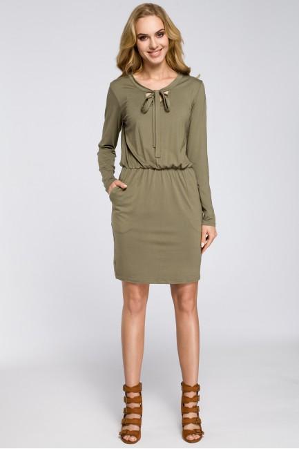 Sukienka z marszczeniami i wiązanym dekoltem - khaki