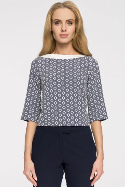 Klasyczna bluzka damska we wzory - model 2