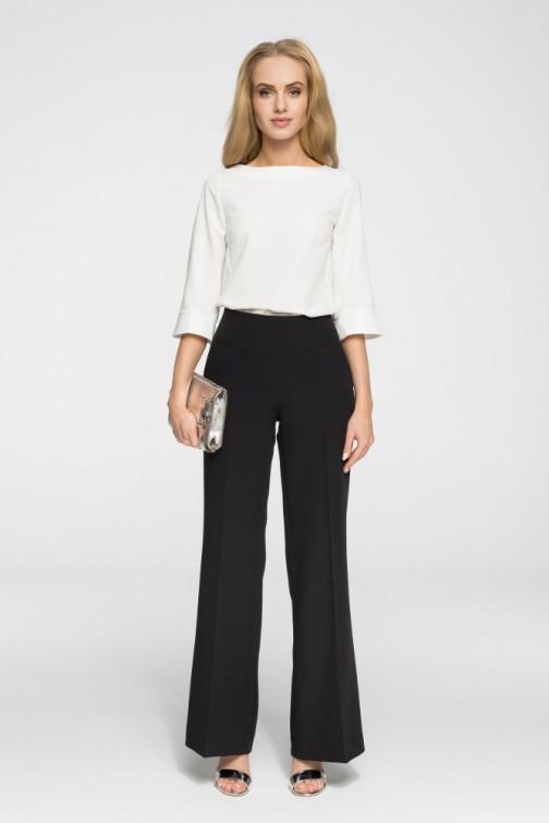 Eleganckie spodnie damskie w kant czarne