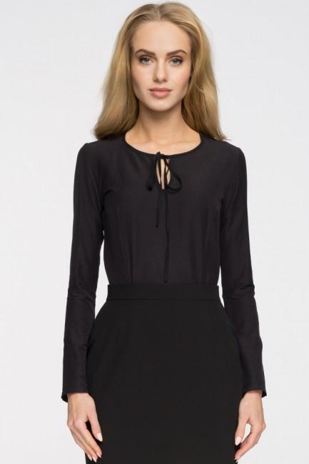 Elegancka bluzka z wiązaniem przy dekolcie - czarna