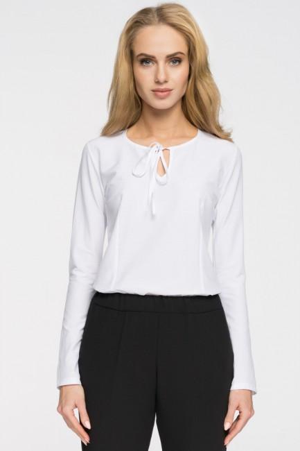 Elegancka bluzka z wiązaniem przy dekolcie - biała