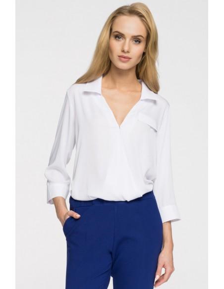 Elegancka bluzka koszulowa z głębokim dekoltem - biała