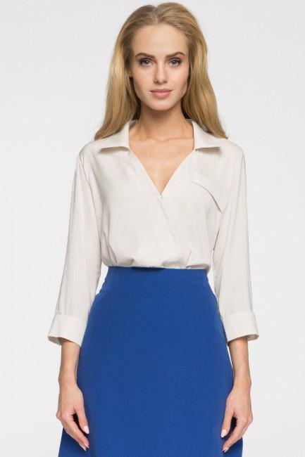 Elegancka bluzka koszulowa z głębokim dekoltem - beżowa