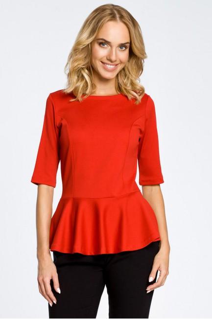 Elegancka bluzka z baskinką - czerwona