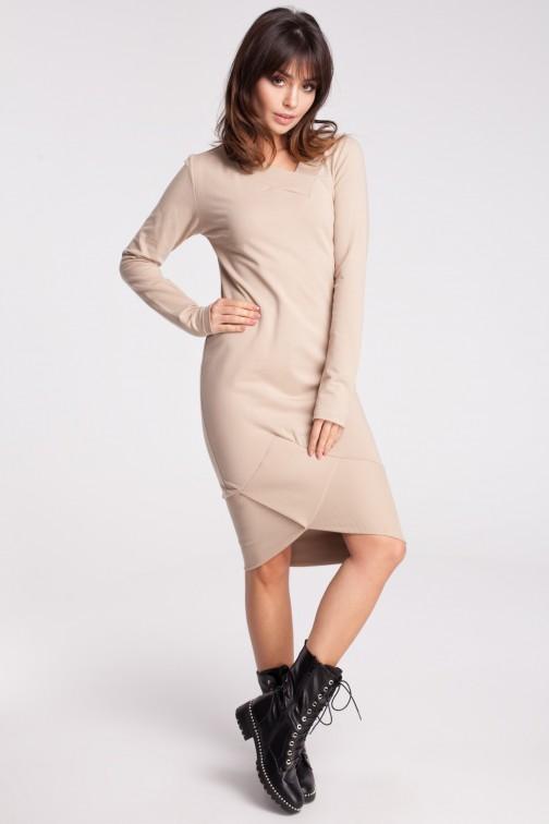 Asymetryczna dresowa sukienka - beżowa