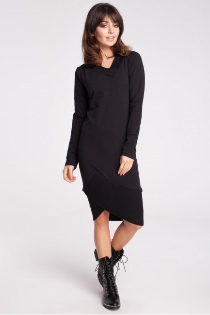 Asymetryczna dresowa sukienka - czarna