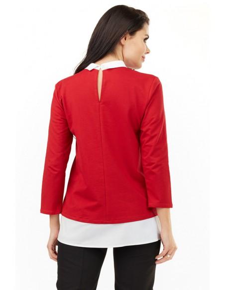 Dzianinowa bluzka z białym kołnierzykiem - czerwona