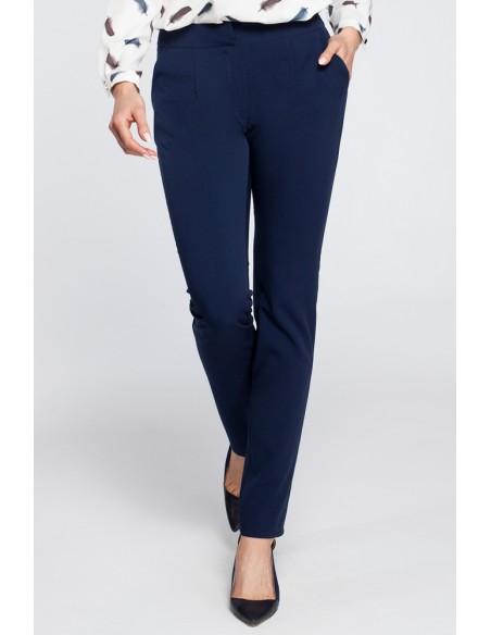 Eleganckie spodnie cygaretki - granatowe