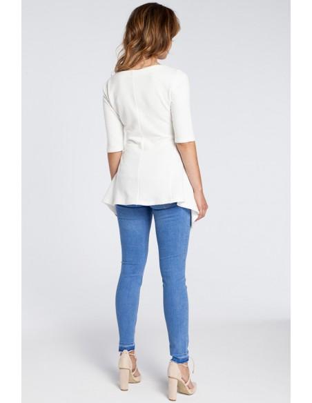 Kobieca bluzka baskinka - ecru