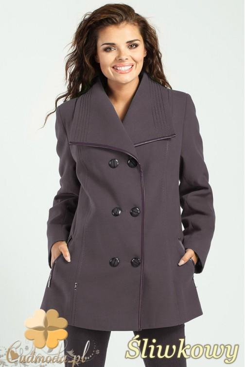 Elegancka dwurzędowa kurtka damska - śliwkowa