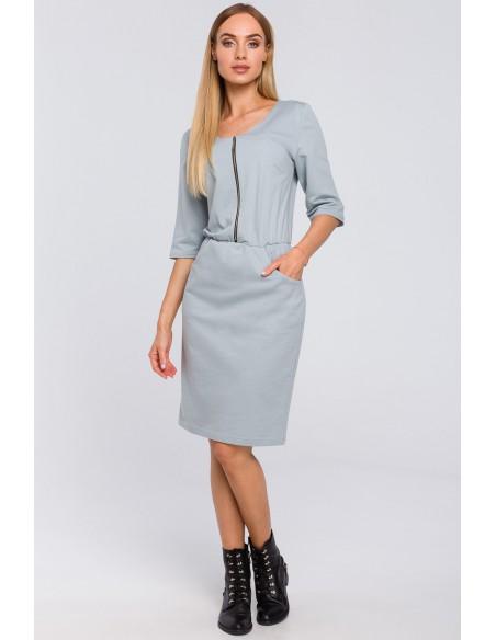 Dresowa sukienka z zamkiem - kolor gołębi