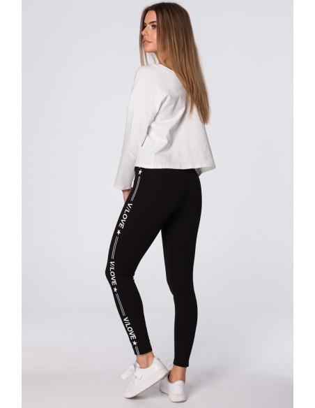 Sportowe legginsy z nadrukiem na zewnętrznej stronie nogawek