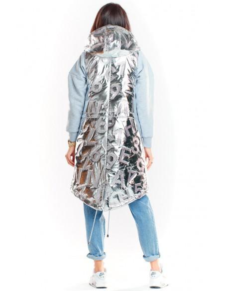Długa kamizelka z kapturem - srebrna