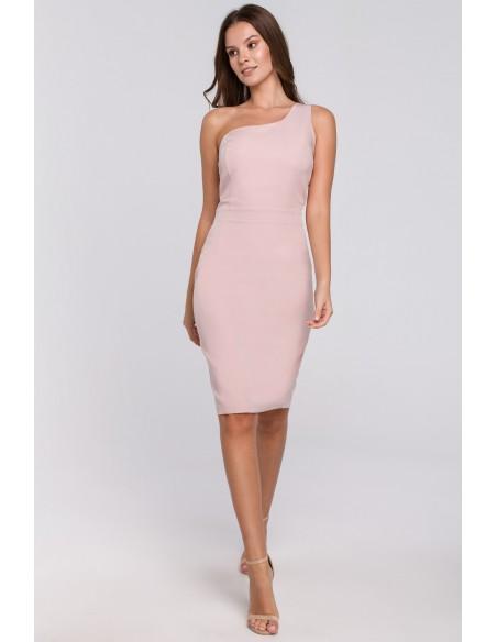 Sukienka na jedno ramię - brudno-różowa