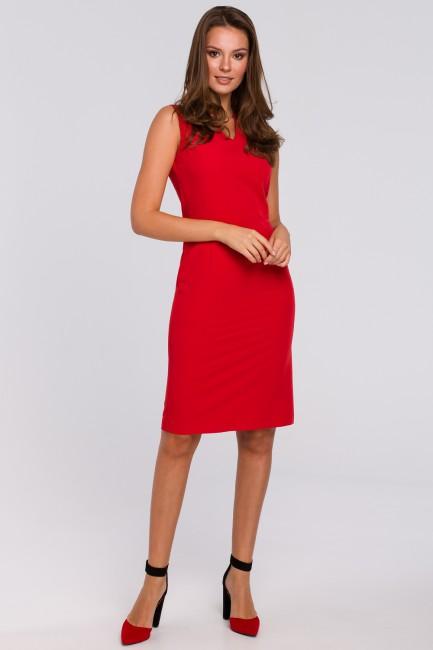 Sukienka z dekoltem w szpic - czerwona