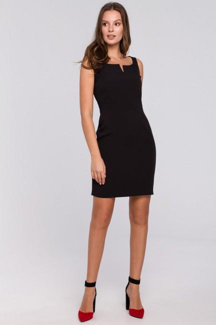 Sukienka mini z dekoltem karo - czarna