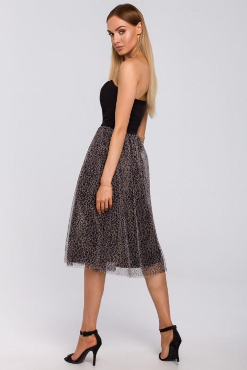 Sukienka gorsetowa z tiulem w panterkę czarna