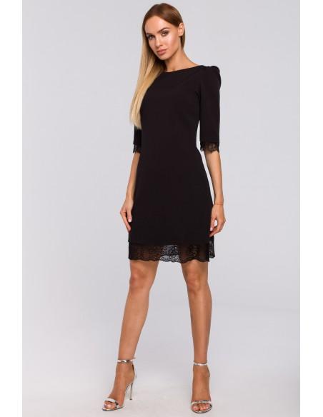 Sukienka z dekoltem na plecach i koronką - czarna