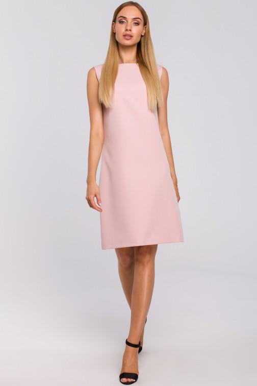 Sukienka z głębokim dekoltem V na plecach - pudrowa