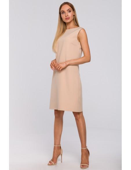 Sukienka z głębokim dekoltem V na plecach - beżowa