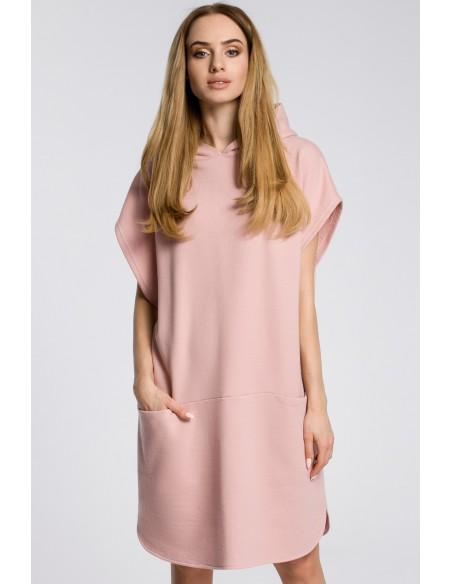 Sukienka z kapturem i kieszeniami - pudrowa