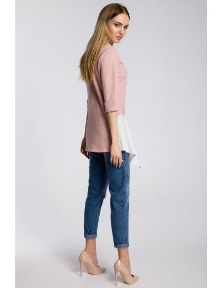 Damska bluzka z falbanką - pudrowa