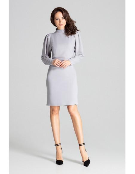 Dopasowana sukienka midi z długim rękawem - szara