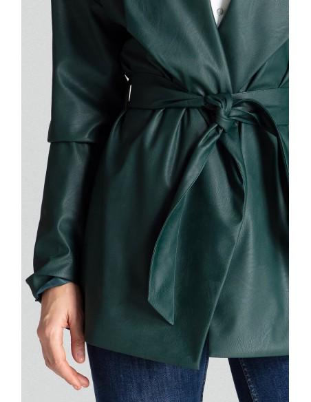 Wiązany żakiet z kieszeniami - zielony