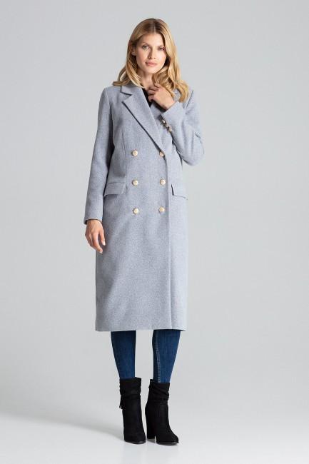 Kolorowy długi wełniany płaszcz damski